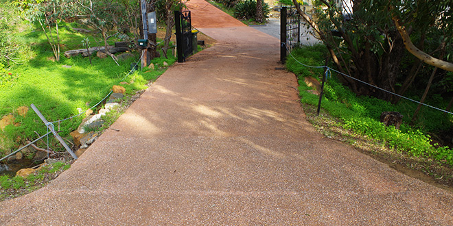 Exposed aggregate driveway.
